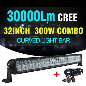 30inch 300w Cree Curved Led Light Bar Spot Flood Combo For Offroad Utv 4wd Suv