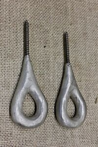 2 Old Plant Hooks Bird Cage Hangers Hand Crafted Lifting Eye Screw Bolts Vintage