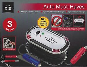 New E Z Charge Jump System Tire Pressure Guage Jumper Cable By Sharper Image