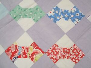 Vtg Antique 1930 Feed Sack Feedsack Bow Tie Neck Tye Hand Stitched Quilt 67x75