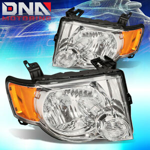 For 08 12 Ford Escape Cd2 Suv Chrome Amber Side Turn Signal Headlight Head Lamp