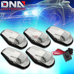 For 80 96 F150 f450 Truck 5x Chrome Cab Roof Top White Led Marker Lights switch