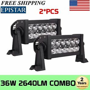 2x 8inch 36w Led Work Light Bar Flood Spot Combo Driving Offroad Lamp 4wd Atv
