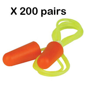 New Erb 03 c 200 Pair box Orange Nrr 32db Disposable Corded Soft Foam Ear Plugs