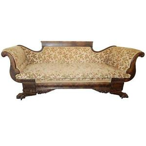 1870 Fabulous American Empire Carved Mahogany Settee