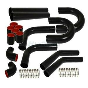 Universal 3 Inch Aluminum Intercooler Piping U pipe Kit coupler Black t bolt