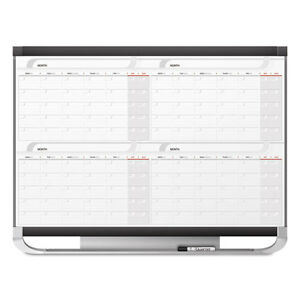 Quartet Prestige 2 Total Erase Four month Calendar 48 X 36 Graphite Color Frame