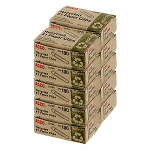 Acco Recycled Paper Clips 1 Size Box Of 1000 72365