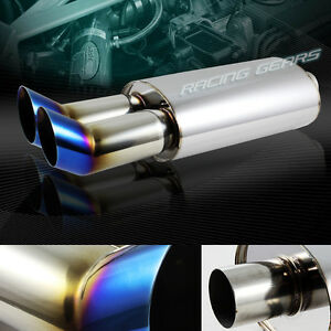 3 Dtm Style Titanium Burnt Dual Tip 2 5 Inlet Stainless T 304 Exhaust Muffler