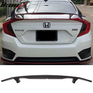 Fits 16 19 Honda Civic Sedan 4dr Ikon Type A Trunk Spoiler Si Sport Rear Wing
