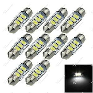 10x White 31mm 30mm 3 Smd 5630 Led Dome Light Lamps Canbus Error Free Car Zi019