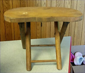 Vintage Wooden Milking Camping Stool Nevco Carrying Folding Portable 8 5 T