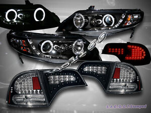 Fit For 2006 2011 Honda Civic 4dr Ccfl Halo Projector Headlights Led Tail Lights