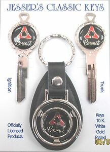 Vintage Nos Dodge Coronet Deluxe Classic White Gold Key Set 1966 1967 1968 1969