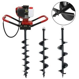 Gas Powered Post Hole Digger Machine 56cc Fence Ground Drill 4 6 10 Auger