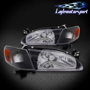 For 1998 1999 2000 Toyota Corolla Black Factory Style Replacement Headlights