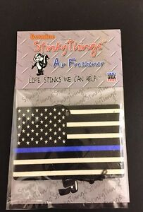 Thin Blue Line American Flag Air Freshener Midnight Freeze Scent Car Police