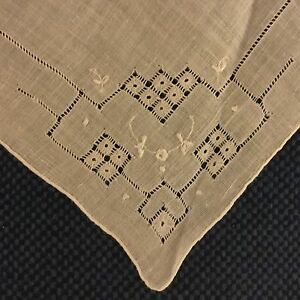 Antique Vintage Madeira Handmade Linen Lace Embroidered Handkerchief Hanky Ha10