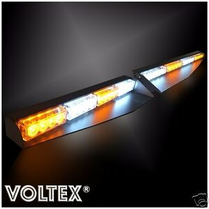 New Voltex Amber Clear Visor Split Deck 1w Dash Led Lightbar Strobe Light Kit