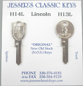 Vintage Lincoln Nos Crest And Knight Key Set 1954 1955 1956