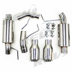 2 5 Dual Catback Exhaust Pipe Stainless Kit For Mustang 05 10 V8 Gt Gt500