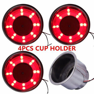 4pcs Stainless Steel Cup Drink Holder Red Led Built In For Marine Boat Truck Rv