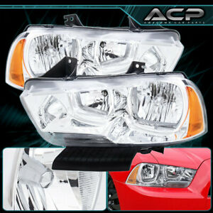 For 2011 2014 Dodge Charger Front Driving Headlights Chrome Housing Smoke Lens