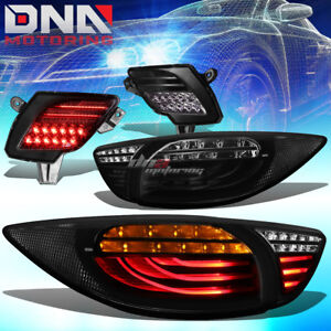Black Smoked 3d Led Tail Lights Tinted Rear Reflector Lamp Fit 13 16 Mazda Cx5