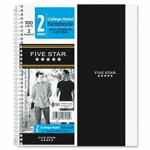Mead Five Star 2 subject Notebook 100 Sheet College Ruled 9 50 X 6 1