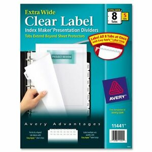 Avery Index Maker Extra wide Tab Dividers 8 X Divider Blank 8 Tab s set