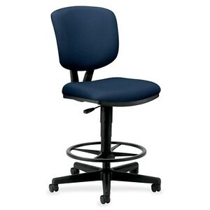 Hon Volt Adjustable Height Stool Fabric Navy Blue Seat Fabric 5705ga90t