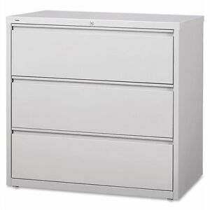 Lorell 3 drawer Lt Gray Lateral Files 42 X 18 6 X 40 3 Steel 3 X File