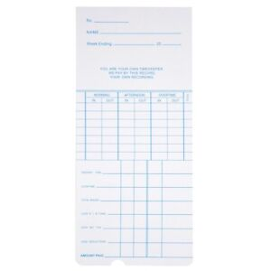 1000x Weekly Time Clock Cards Timecard For Employee Attendance Payroll Recorder