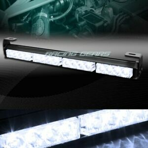 18 Led White Traffic Advisor Emergency Warn Flash Strobe Light Bar Universal 4