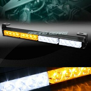 18 Led White Amber Traffic Advisor Emergency Warning Flash Strobe Light Bar