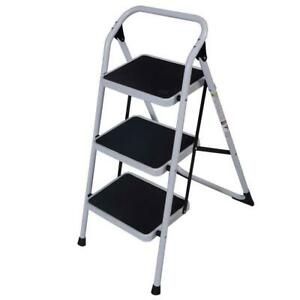 3 Steps Ladder Folding Handrails Grip Iron Step Stool Heavy Duty Industrial