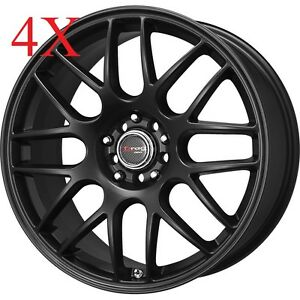 Drag Wheels Dr 34 15x7 4x100 4x114 Flat Black Rims For Colt Metro Mirage Corollo