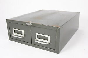 Cole steel Industrial 2 drawer Index Card File Green Metal Cabinet Steampunk