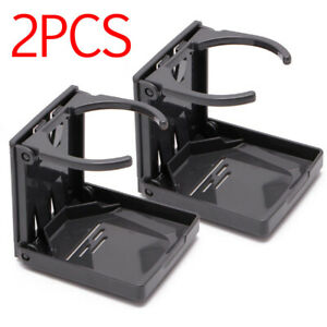 2pc Adjustable Folding Cup Drink Holder Mount Car Truck Boat Camper Rv Black