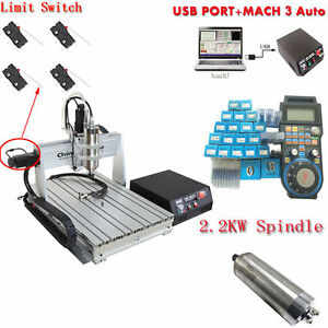 6040 2200w 3axis Mach3 Usb Cnc Router Engraver Engraving Milling Machine Handle