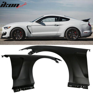 Fits 15 17 Ford Mustang Gt350 Style Steel Fender Trim W Inserts Unpainted Black
