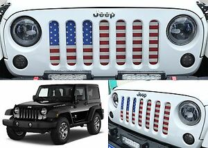 American Flag Usa Grill Inserts For 2007 2017 Jeep Wrangler Jk New Free Shipping