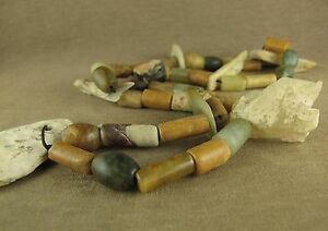 24 Stunning Antique Chinese Neolithic Carved Bi Pendant Jade Beads Necklace