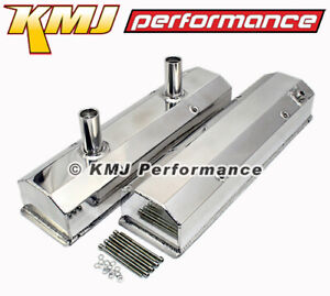 Sbc Chevy 350 Polished Fabricated Aluminum Circle Track Valve Covers Long Bolt