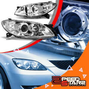 For 04 09 Mazda 3 4door Sedan Chrome Projector Headlight L H Clear Corner Lamp