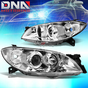 For 04 09 Mazda 3 Sedan 4 Door Chrome Housing Projector Headlight Clear Corner