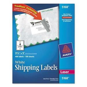 Avery 5168 Shipping Labels With Trueblock Technology 3 1 2 X 5 White 400 box