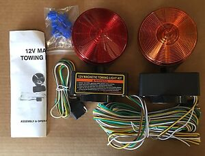 12v Magnetic Towing Tow Light Kit Trailer Rv Dolly Tail Towed Car Boat Truck
