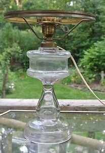 Vintage Clear Glass Banquet Table Electrified Oil Lamp With Brass Rim Shade