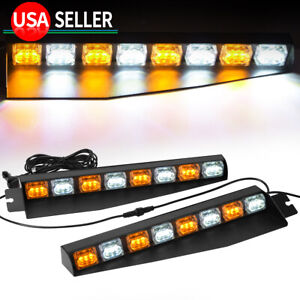 2x 48w Amber White Windshield Led Emergency Strobe Light 17 Roof Marke